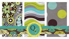 Splendid - Designer Fabric Half Yard Fabric Bundle - Aqua Gray Lime Brown Floral Dots and Wavey Stripe Modern Fabric Bundle. $11.23, via Etsy.
