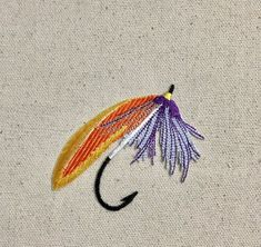 Large Fishing Fly - Orange/Purple - Lure/Bait - Angling - Iron on Applique - Embroidered Patch - Iron On Embroidered Patches, Iron On Applique, Embroidery Applique, Sew On Patches, Orange And Purple, Fly Fishing, Outdoor Blanket, Bait, Etsy