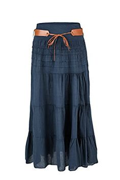 ee911287857e8 Sevello Clothing Ladies Italian Hi Waisted Cotton Skirt Gypsy Layered  Asymmetric Long Maxi Skirt Festival Ethnic · Jupes ...