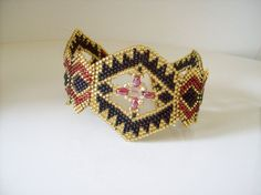 Black gold beaded bracelet  Seed bead cuff by joymakersdesigns