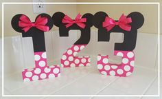 Minnie mouse inspired photo prop, minnie mouse birthday decoration, number photo prop, paper mache number, birthday number props, Photo prop
