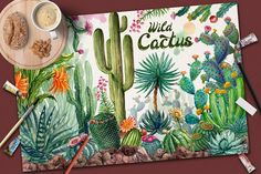Ad: Watercolor Cactuses by Graphobia on Hi. With this file you will be able to create awesome and unique greeting cards and logos, all kinds of designs with cactus drawn with Cactus Drawing, Watercolor Cactus, Cactus Art, Watercolor And Ink, Watercolor Paintings, Cactus Plants, Cactus Illustration, Pencil Illustration, Graphic Illustration