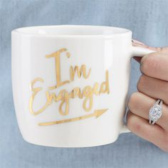 Ceramic mugs feature gold foil engagement sentiments. Mugs arrive in corrugate gift wrap with polka dot twill bow. Engagement Mugs, Engagement Party Gifts, Engagement Celebration, Engagement Pictures, Wedding Engagement, Engagement Ideas, Engagement Session, Wedding Mugs, Wedding Quotes