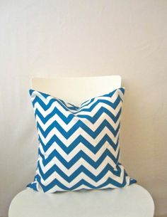 16 inch throw pillow cover, Chevron teal and white. Zigzag pattern, modern print. For indoor use.. $12.95, via Etsy.