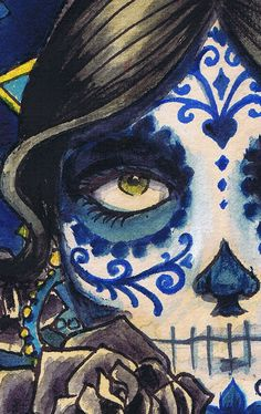 A3 Sombrero Day of the Dead Sugar Skull Catrina la calavera - cardstock art print - I have bought some of her art for a friend but finally just bought two for myself.