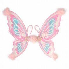 Pink Wings  Prachtige roze vlindervleugels afgewerkt met glitters en veertjes. One size vanaf 3 jaar