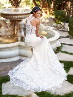 45c806f3bd Moonlight Collection J6579 breathtaking sheer lace racer back trumpet wedding  dress with stretch lining #lace