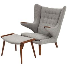 Hans J. Wegner Papa Bear Chair and Ottoman | From a unique collection of antique and modern armchairs at http://www.1stdibs.com/furniture/seating/armchairs/