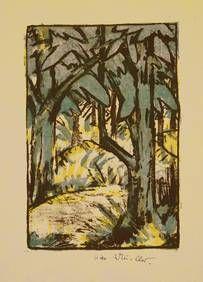 """Otto Mueller """"Waldlandschaft"""". Farblithographie um 1924. Karsch 152"""