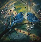 Bluebirds sitting on a Branch by Cherie Roe Dirksen Bluebirds, Print Store, Creative, Artwork, Shop, Pictures, Painting, Photos, Work Of Art