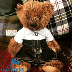 Callum Ancestral Bear in Kennedy Tartan. Free worldwide shipping available
