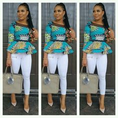 Which of this Ankara outfit do you prefer A. promised I was gonna show you how to Rock This peplum skirt and blouse oya make your choice 😁😁 for serious clients plz cc 😙😙 Latest African Fashion Dresses, African Dresses For Women, African Print Dresses, African Print Fashion, Africa Fashion, African Attire, High Street Fashion, Ankara Tops, Ankara Blouse