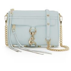 Rebecca Minkoff Mini M.A.C. (825 VEF) ❤ liked on Polyvore featuring bags, handbags, shoulder bags, purses, accessories, bolsas, light turquoise, crossbody shoulder bags, crossbody purse and leather shoulder bag