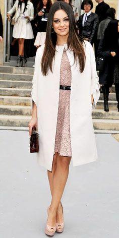 Beautiful elegant street style on Mila Kunis