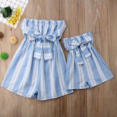 Off Shoulder Stripe Bowknot Jumpsuit Mother Daughter matching dresses Mother Daughter Dresses Matching, Matching Family Outfits, Matching Clothes, Mother Daughters, Daddy Daughter, Mother Son, Mommy And Me Outfits, Cute Outfits For Kids, Cute Baby Clothes