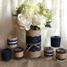 Image result for navy and champagne centerpieces