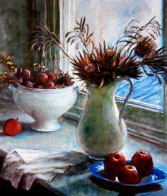 Paintings - Margaret Hannah Olley - Page 5 - Australian Art Auction Records Flowers In Vase Painting, Fruit Painting, Australian Painters, Australian Artists, Still Life Artists, Visual And Performing Arts, Paintings Famous, Social Art, Painting Still Life