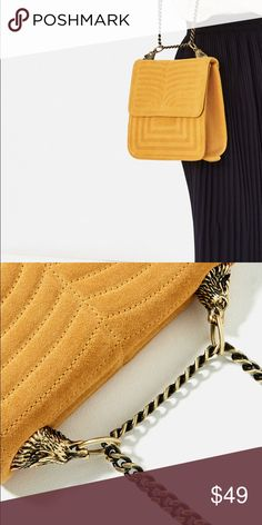 Zara mustard colored quilted bag Mustard colored leather quilted bag. Gold toned hardware in the shape of a wolfs head to attach the straps to the bag. Lining with pocket. Magnetic closure. New with tags attached! Never used! Beautiful for year round pop of color! Bags Shoulder Bags