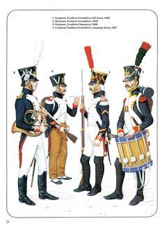 Musicante, caporale, sergente e tamburo dei fucilieri granatieri della guardia imperiale
