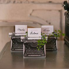 These adorable miniature typewriter favor boxes reflect all the charm of the original. Handwrite the name of each guest on the small card included with each box and create a vintage favor your guests