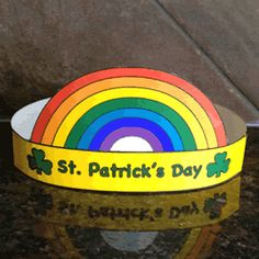 St. Patrick's Day craft for kids - rainbow hat. Color, cut out, and staple