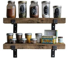 Buy Reclaimed Wood Accent Shelves Rustic Industrial - Amish Handcrafted in Lancaster County, PA - Set of Two Hanging Shelves, Floating Shelves, Buy Reclaimed Wood, Lancaster County, Wood Accents, Rustic Industrial, Amish, Wine Rack, Metal