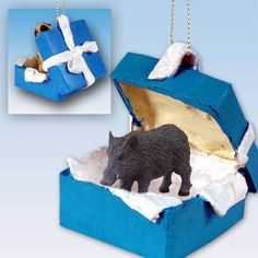 Realistic Hand Painted Stone Resin Razorback Hog in a Blue Gift Box Ornament