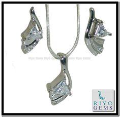 Cubic Zircon Silver pendant Earring Set Gemstone Jewelry 925 Sterling Silver Jewelry by Riyo Gems Handmade Jewellery http://www.riyogems.com