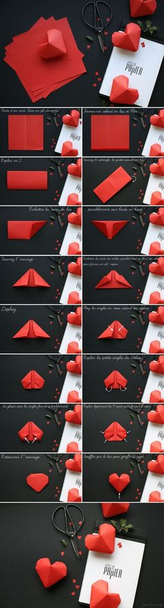 "Corazón papel Más [ ""Para o dia dos namorados"", ""I love origami. There is something satisfying about folding a piece of paper into something pretty. These love hearts are a simple, but cute, starting project."", ""Check the way to make a special photo charms, and add it into your Pandora bracelets. DIY Paper Hearts""..."