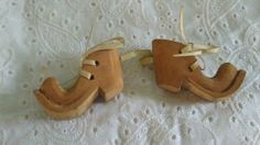 Miniature hand carved wooden clown shoes folk art by GraceYourNest