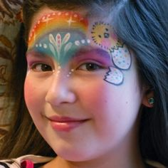 Easter Rainbow Face Paint Design Step-By-Step Tutorial Mime Face Paint, Girl Face Painting, Face Painting Designs, Face Paintings, Easter Face Paint, Rainbow Face Paint, Clown Faces, Cold Cream, Paint Shop