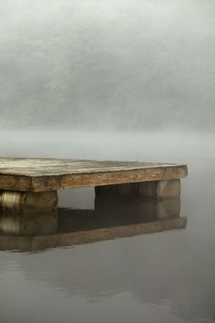 A floating dock...with fog...and an air of mystery. An probably a moose out there somewhere. Sold