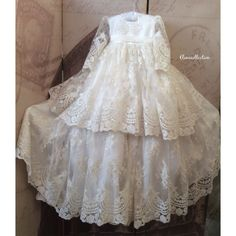 Cristening Lace Gown with bonnet-Baptism Victorian Dress Long Slevess-Reyna