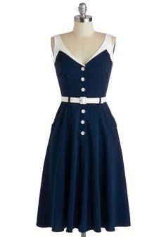 Bettie Page Sense of Tasteful Dress in Navy | Mod Retro Vintage Dresses | ModCloth.com
