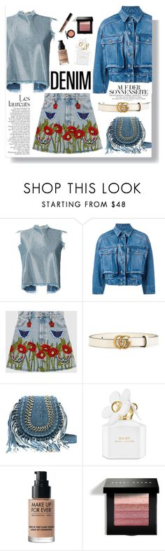 """Head to Toe: Denim"" by fashionfreakforlife ❤ liked on Polyvore featuring Marques'Almeida, Dolce&Gabbana, Gucci, Marc Jacobs, MAKE UP FOR EVER, Bobbi Brown Cosmetics and NYX"