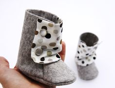 BABY BOOTIES Boy and Girl - 100% Felt and Cotton - Grey, beige, brown and black dots. $30.00, via Etsy.