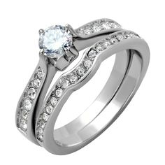 Roz: 1.05ct 2 pc Russian Ice on Fire semi-eternity Wedding Ring Set - Trustmark Jewelers
