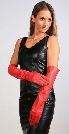 Black leather dress and red opera gloves Red Gloves, Rubber Gloves, Long Gloves, Black Leather Dresses, Black Leather Gloves, Leather Pants, Red Leather, Leder Outfits, Leather Fashion
