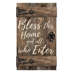 Hand-crafted in the shape of an old barn door, P. Graham Dunn's Bless This Home Door Wood Wall Art features kiln dried pine slats and cross beams. Faux hinges and hardware complete this rustic design. Wooden Art, Wood Wall Art, Wall Décor, Door Wall, Diy Wood Signs, Pallet Signs, Rustic Signs, Pallet Art, Home Wall Decor