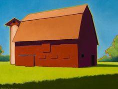 Red barn with silo by Martha Pettigrew