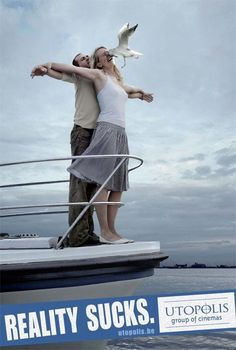 A series of ads that recreate the Jack and Rose pose from Titanic. Hilarious!