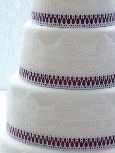 Tarta de boda de encaje