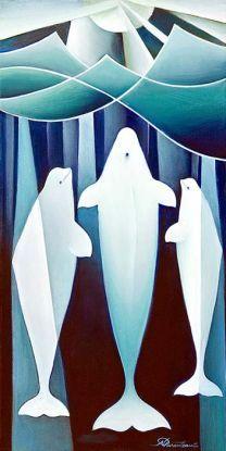 Yukon and Northern artist Nathalie Parenteau Beluga Blue Inuit Kunst, Inuit Art, Native American Totem, Native American Artists, Whale Art, Whale Song, Haida Art, Organic Art, Fish Art