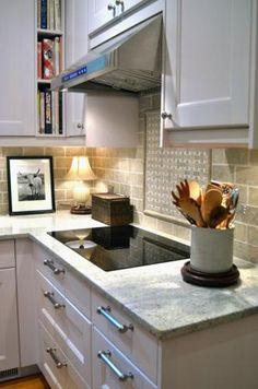 Bookshelves in corner Finished Ramsjo White Kitchen 2012 Home Kitchens, Kitchen Design, Ikea Kitchen, Accent Tile Kitchen, Kitchen Renovation, Kitchen Decor, Kitchen Plans, Retro Kitchen, Kitchen Dinning Room