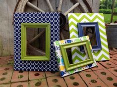 Fabric Covered Picture Frames Set of 3 Wood by TheRedWoodBarn
