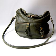 LOVE -- Small Alberta leather bag in army green by valhallabrooklyn, $189.00