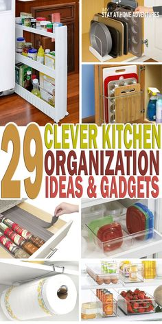 29 Clever Kitchen Organization Ideas and Gadgets - On my quest to get my kitchen organized I found some clever kitchen organizations ideas and gadget that you are going to love. Ikea Organisation, Organizing Hacks, Home Organization Hacks, Organizing Your Home, Kitchen Organization, Cleaning Hacks, Kitchen Storage, Kitchen Decor, Kitchen Interior