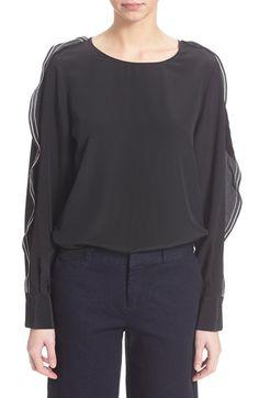 SEE BY CHLOÉ Ruffle Sleeve Silk Blouse. #seebychloé #cloth #
