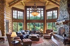 I love this stunning log great room - Ellis Nunn & Associates