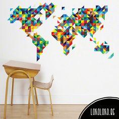 Vinilo para pared de mapamundi multicolor geométrico de triángulos / Multicoloured worldmap vinyl sticker